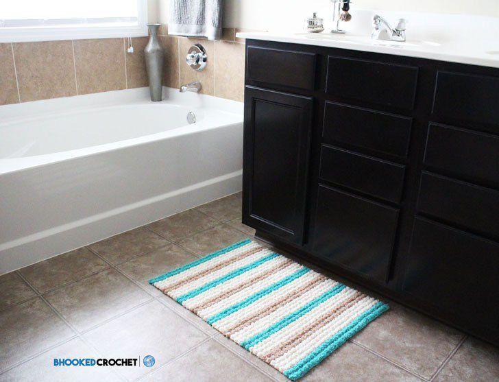 Bobble Scrubby Crochet Bath Mat on a Bathroom Floor