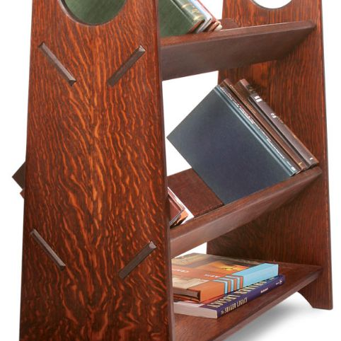 A three-tiered bookcase.