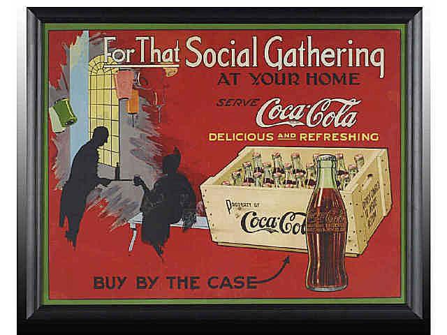 Ca. 1920s Rare Canadian Cardboard Coca-Cola Poster