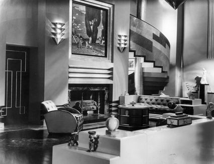 1929 photo of the Art Deco interior of a house which serves as the set for the film 'Our Modern Maidens'.