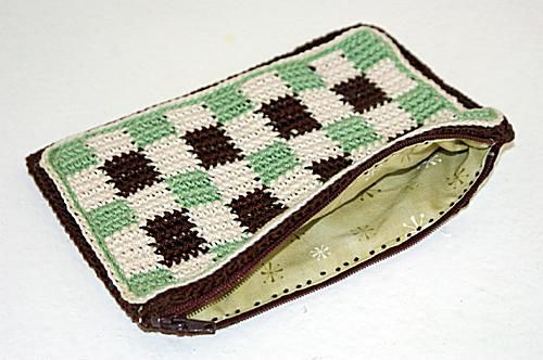 Checkered Crochet Pouch, Photographed With the Zipper Opened to Show off the Lining