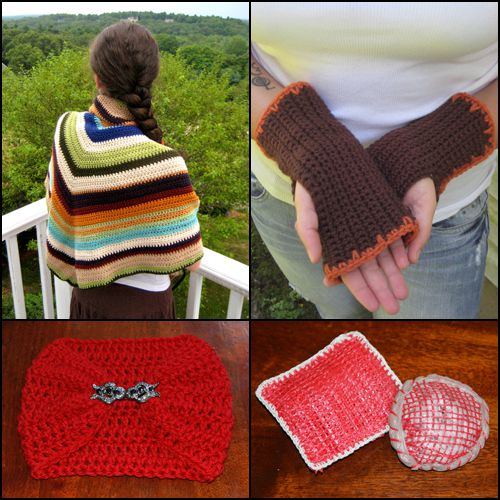 A few of our free crochet patterns: Shawl, fingerless gloves, neck warmer, scrubbies