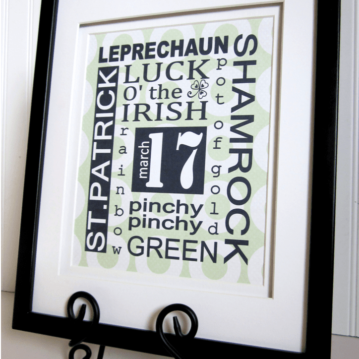 A subway style St. Patrick's Day printable in a frame