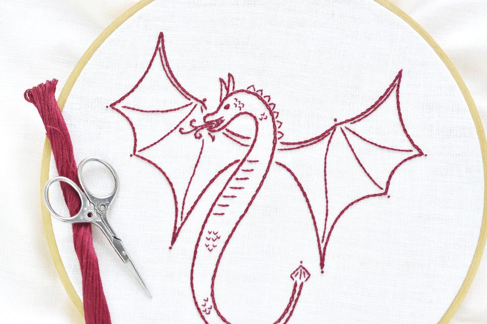 """Free Flying Dragon"" Free Stitchery Pattern for Quilting designed by Mollie Johanson from The Spruce Crafts"