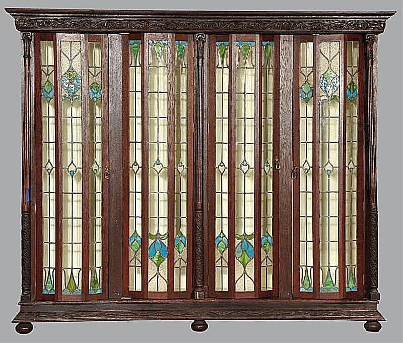 Victorian Oak 4-Door China Display Cabinet