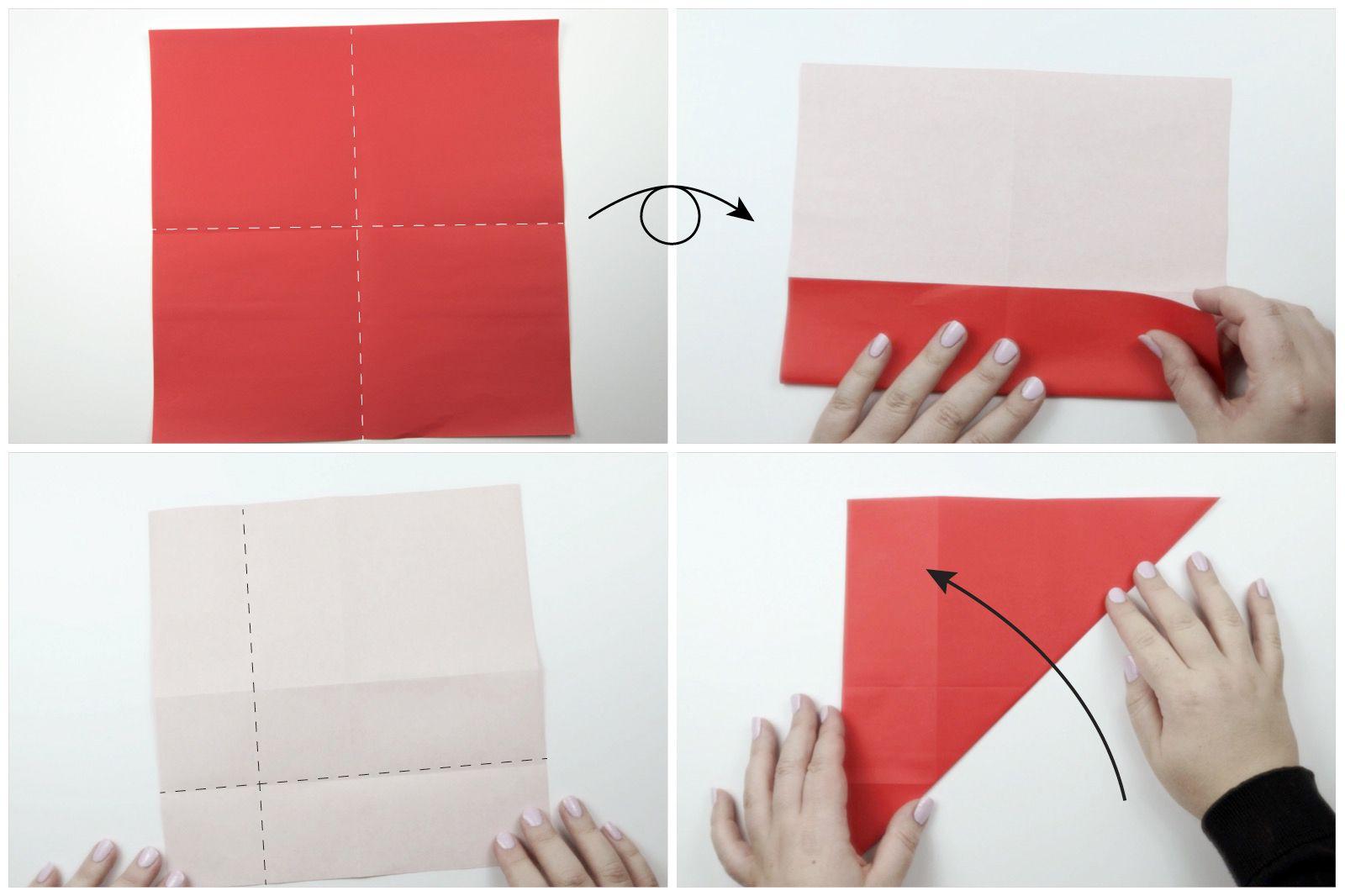 Step 1 origami Santa