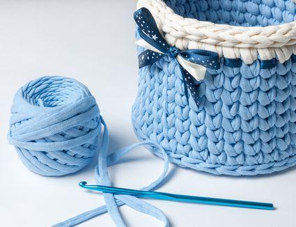 Knitted crochet baskets. Home hobby. Crochet thick threads. Knitting yarn