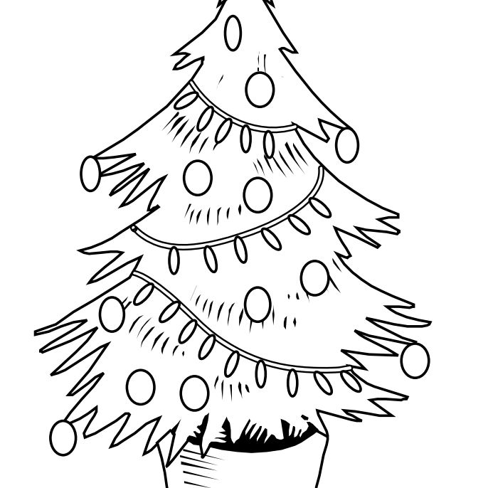 printable christmas tree coloring pages from coloring castle a christmas tree decorated with bulbs lights and a star