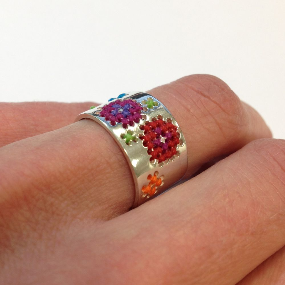 Happy Hours Embroidered Ring