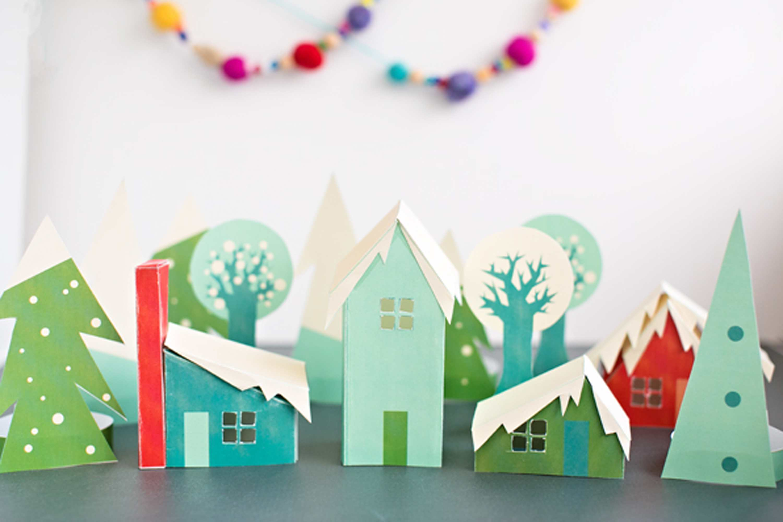 Paper winter village luminary