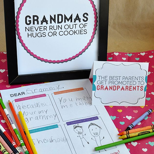 A handmade Grandparent's Day card on a table.