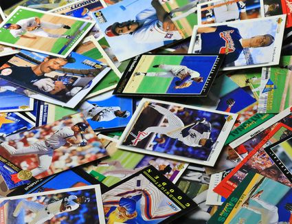 Full frame of various Baseball collecting cards
