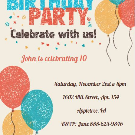a birthday party invite with blue yellow and orange balloons and confetti