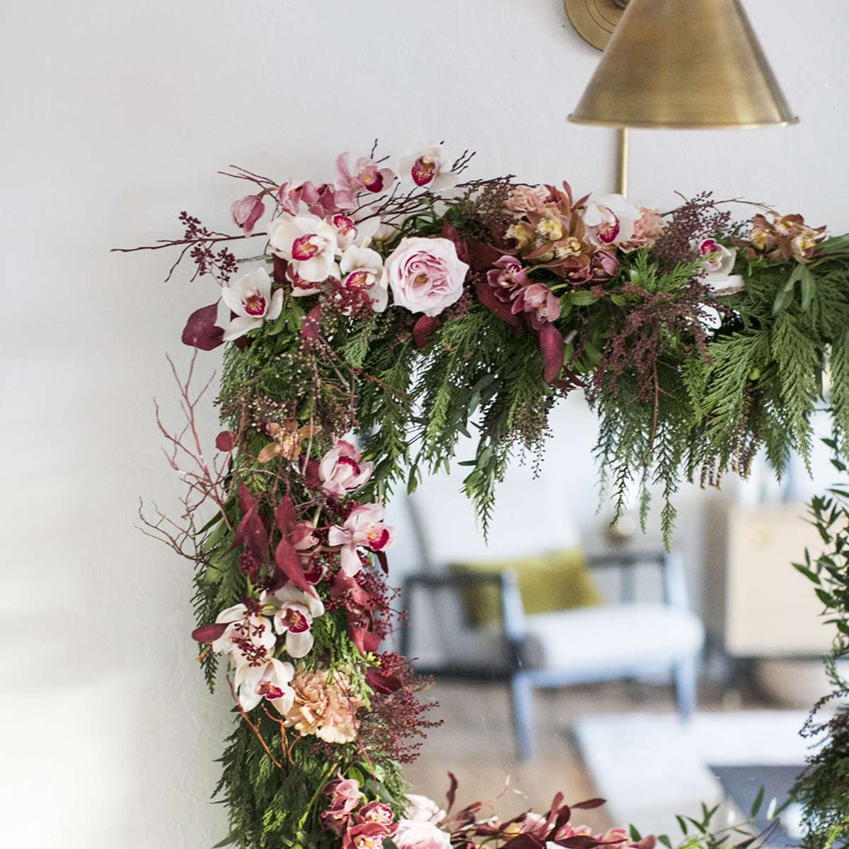 Floral Tutorial: A Unique Winter Garland With Orchids & Greens