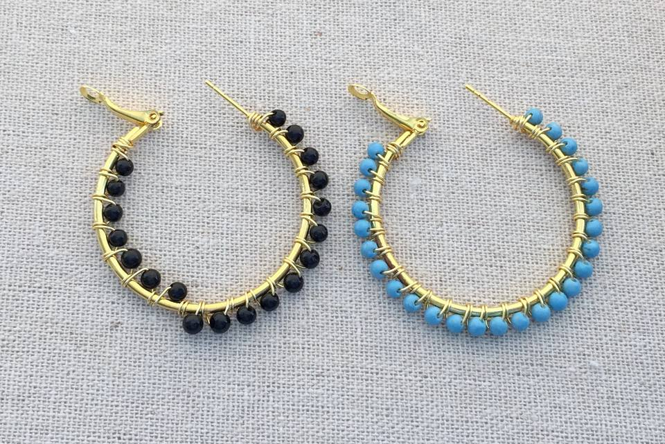 Gemstone Bead Wire Wrapped Hoops