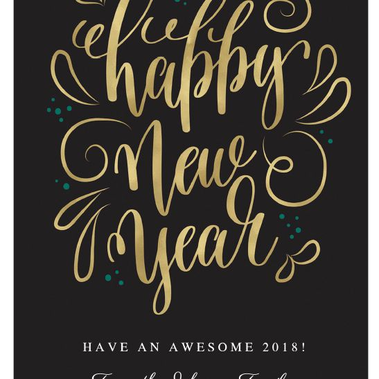 A black and gold New Year's card.