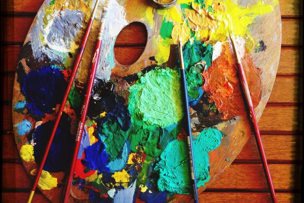 Messy Palette On Table
