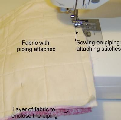 details of sewing piping in a seam.