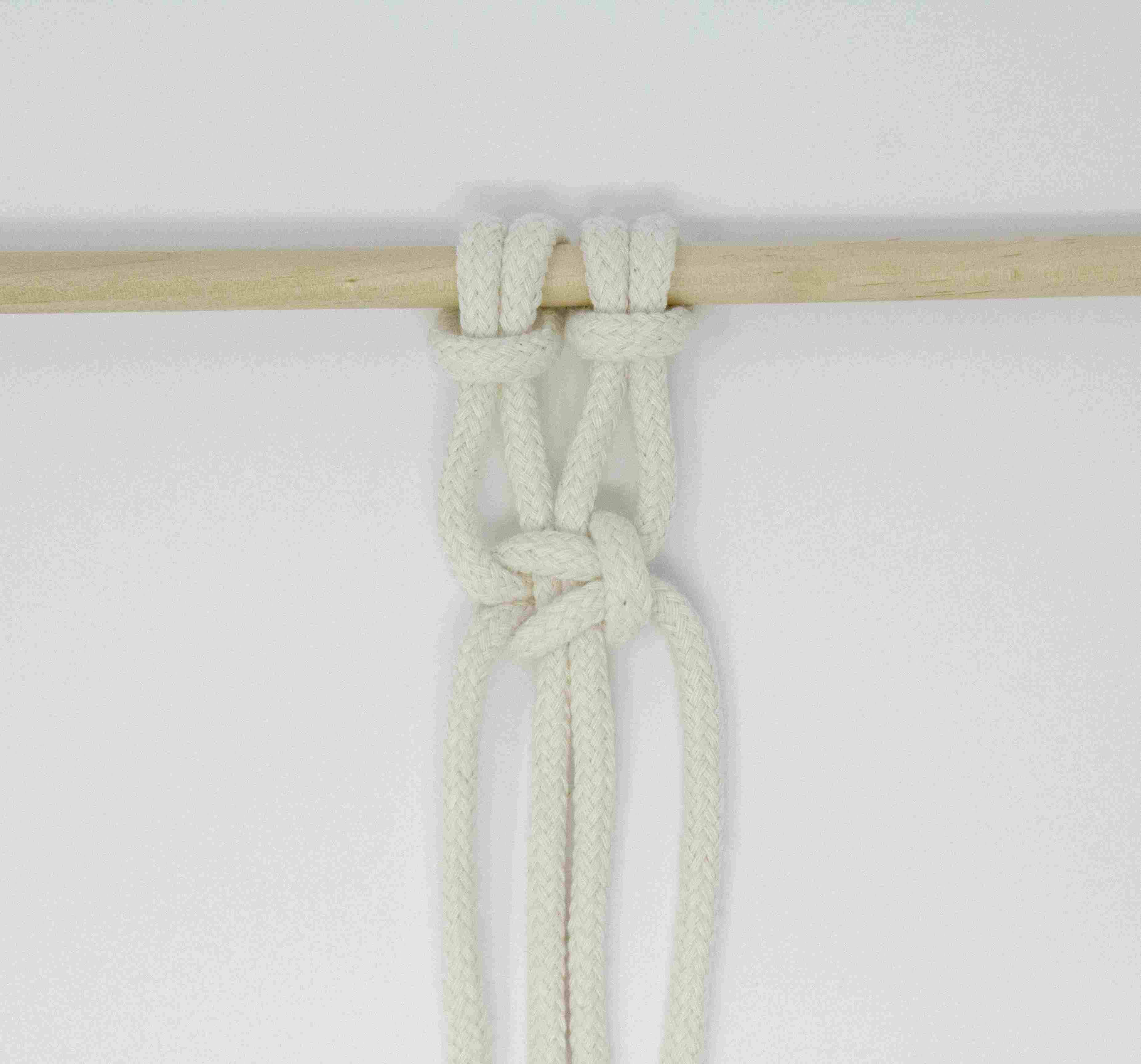 A right facing square knot