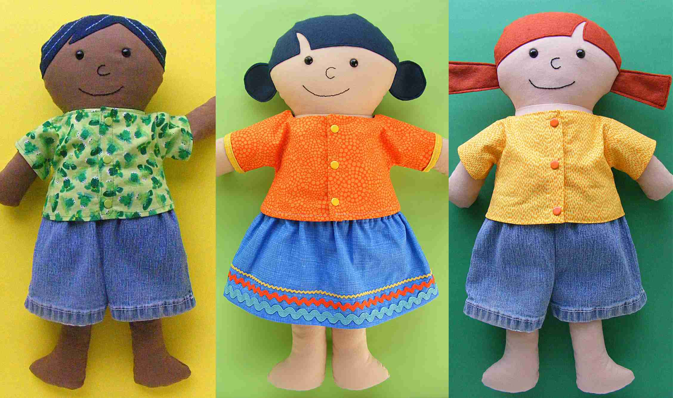 Easy-sew doll shirt, shorts, and skirt for three dolls.