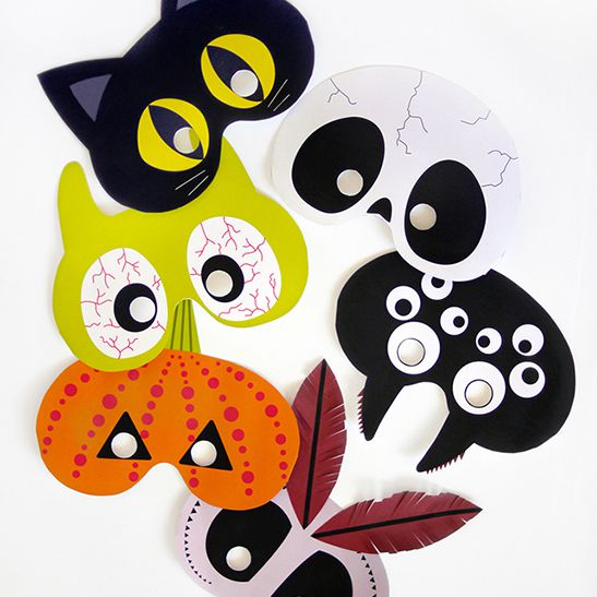 A collection of masks on a table