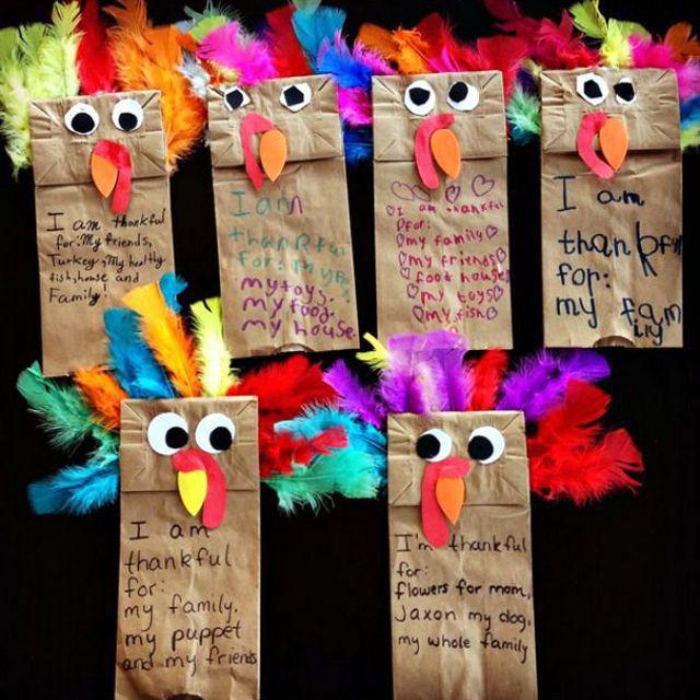 Paper Bag Turkey Puppets