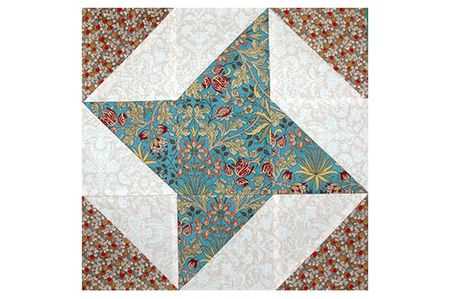 Friendship Star Quilt Block Pattern With Extra Triangles