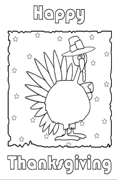 A print and color Thanksgiving card.