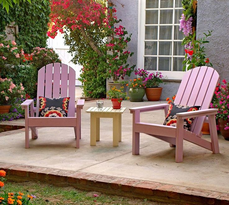 A Pair Of Pink Diy Adirondack Chairs