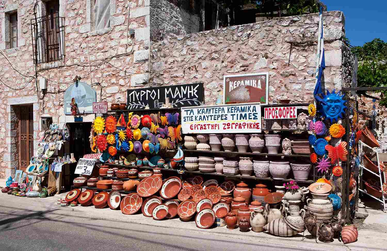 Greece, Mani peninsula, souvenir shop
