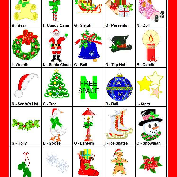 a christmas bingo card with cartoon holiday images
