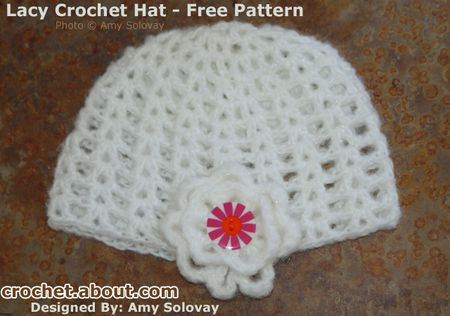Easy Lacy Beanie Hat -- Free Crochet Pattern