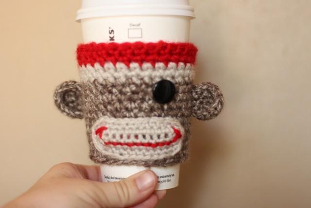 Sock Monkey Coffee Cup Cozy Free Crochet Pattern