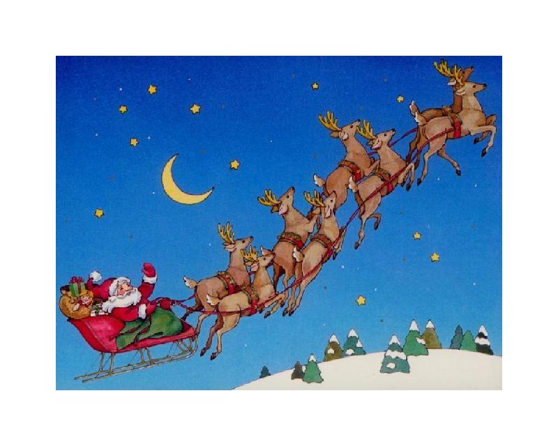 Santa driving a sleigh of reindeers