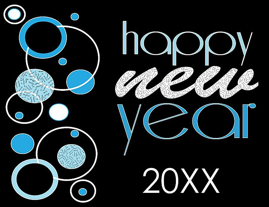 A black and blue New Years card.