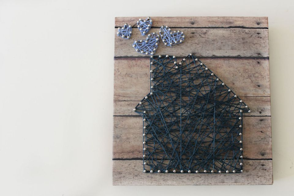 Finished house and hearts string art