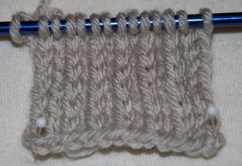 A heel stitch on the needle