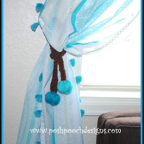 Yarn Ball Crochet Curtain Tie-Backs Free Pattern