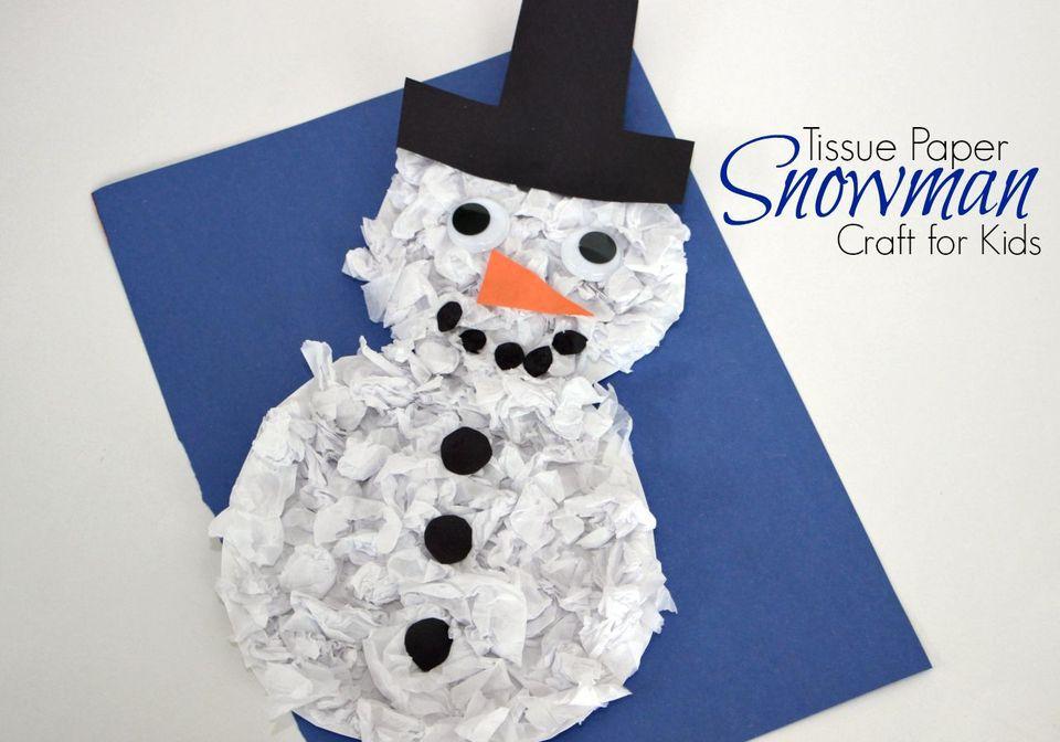 A tissue paper snowman