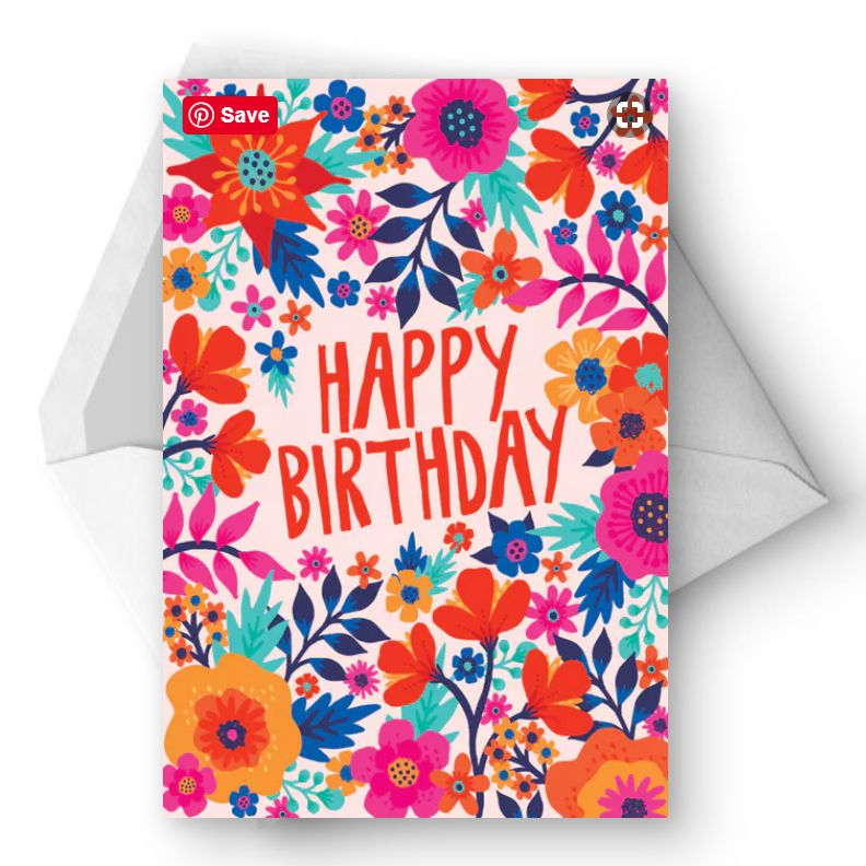 A Bright Floral Birthday Card With An Envelope
