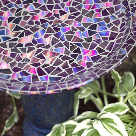 mosaic bird bath with recycled CDs