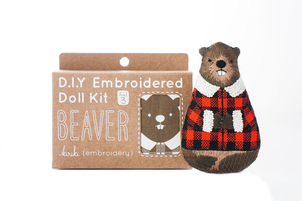 Beaver embroidery kit