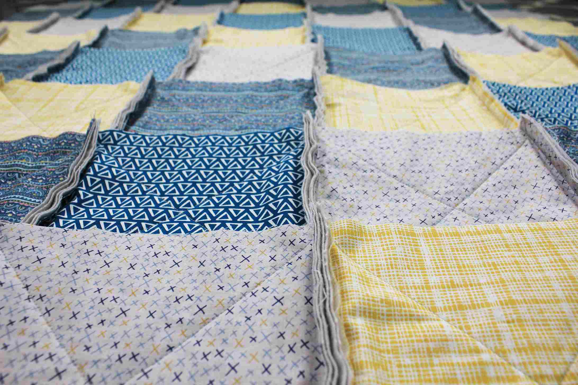 Rows of quilt stacks