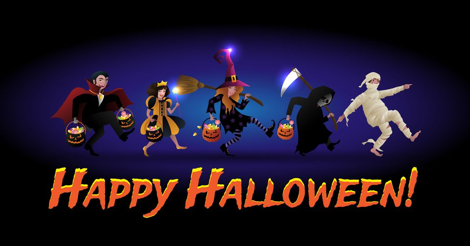 Happy Halloween Banner with children in Halloween costume