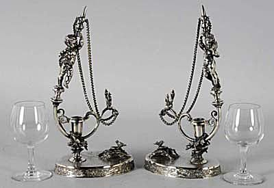Wilcox Silver Plated Figural Wine Glass Holders