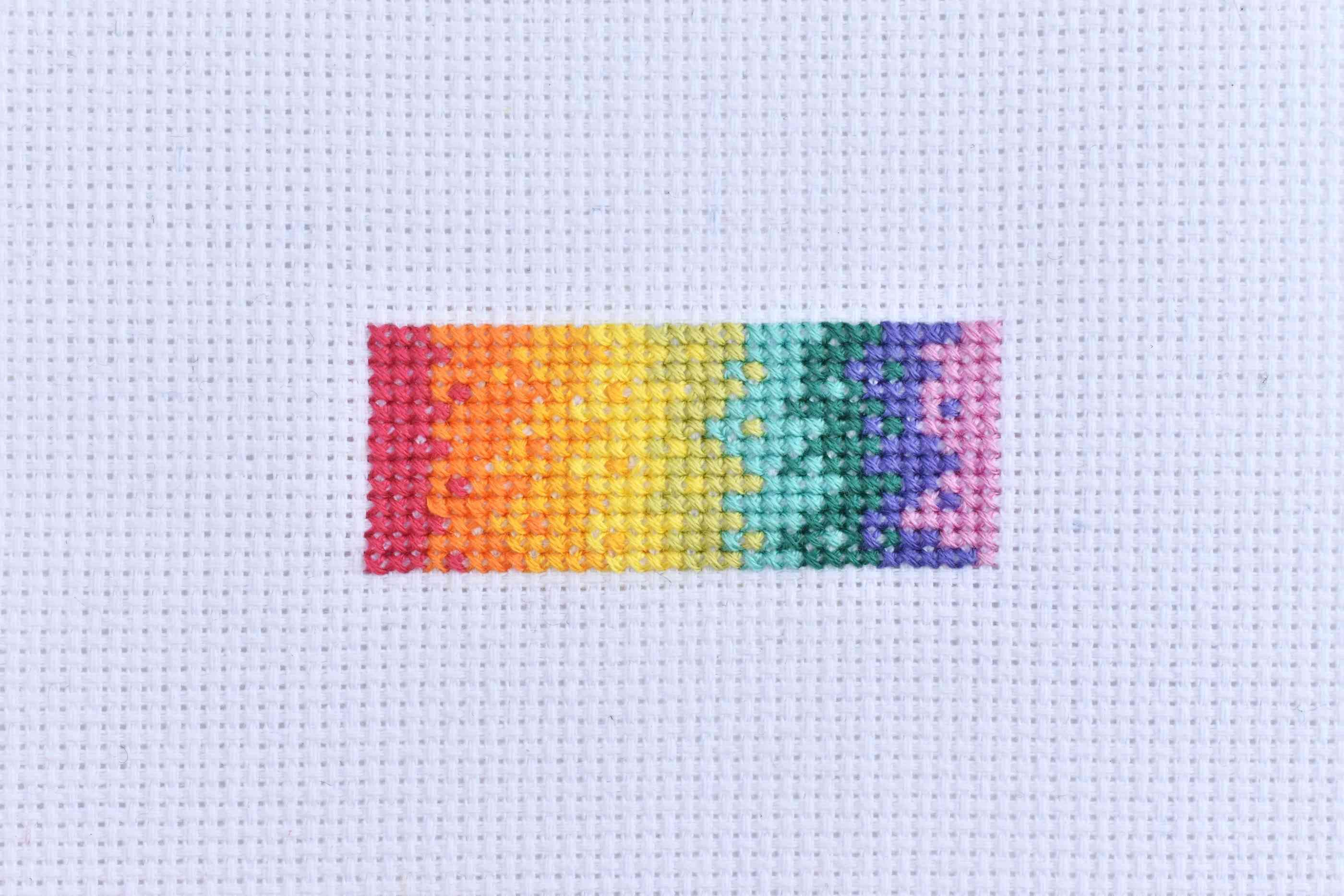 Cross Stitch Sample in a Rainbow Spectrum
