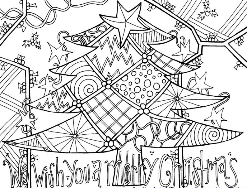 christmas coloring pages by doodle art alley a decorated christmas tree