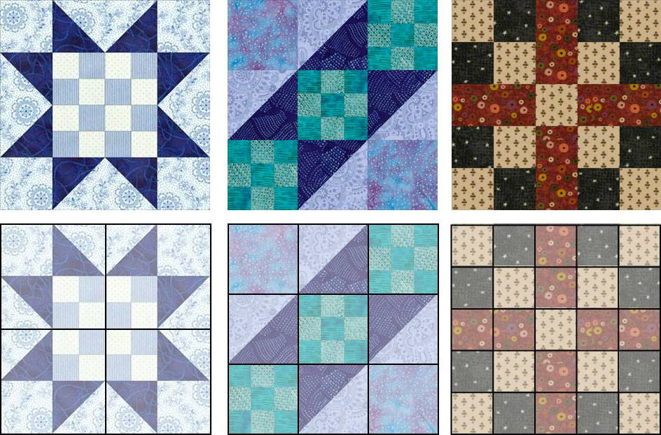 Examples of three different quilt block layouts, from left to right: four-patch block, nine-patch block, seven patch block