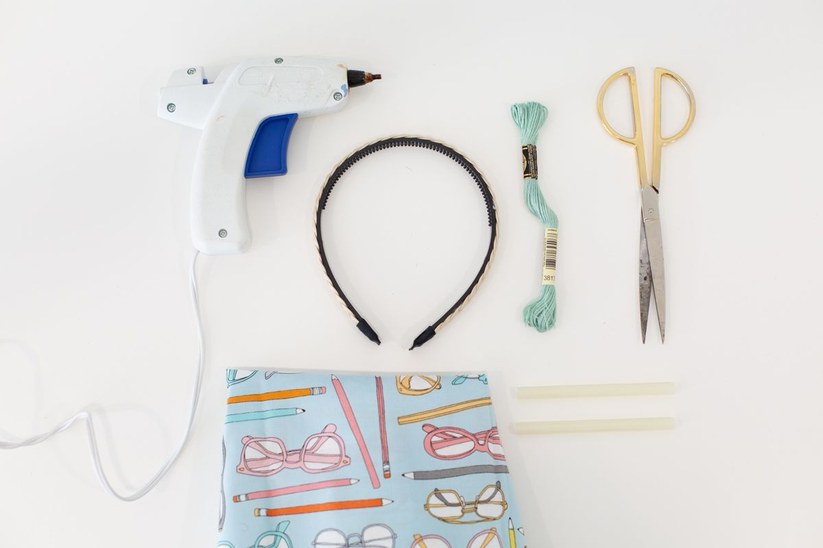 Materials for making a DIY scarf headband