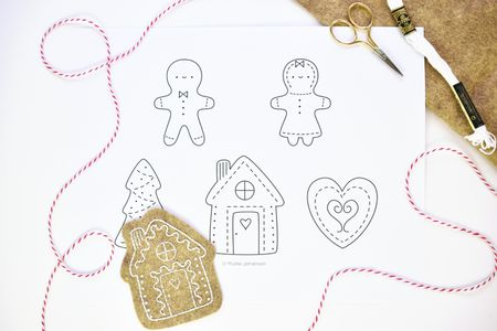 Sweet Gingerbread Cookies Hand Embroidery Pattern